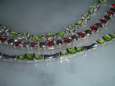 A Lot Of Three  Solid Silver Stone Set Bracelet