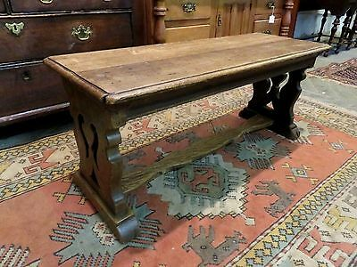 LATE 1700s - EARLY 1800s SOLID OAK & ELM ANTIQUE 2 PLANK BENCH / COFFEE TABLE