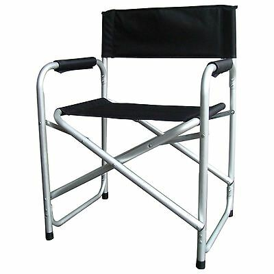 New Folding Directors Chair Fishing Camping Outdoor Garden W/ Padded Arms Black