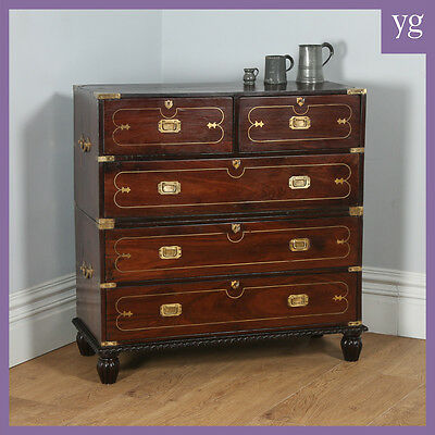 Colonial Style Anglo Indian Rosewood & Brass Military Campaign Chest of Drawers