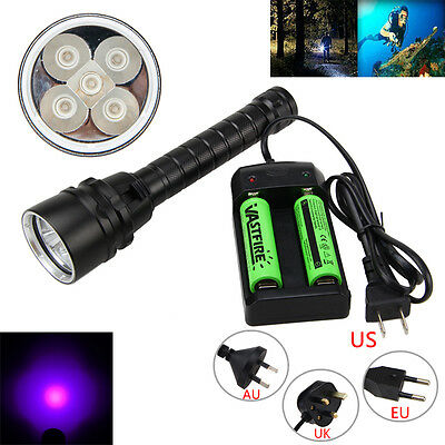Rechargeable 395nm Diving Underwater 100m 5 x UV LED Dive Scuba Flashlight Torch