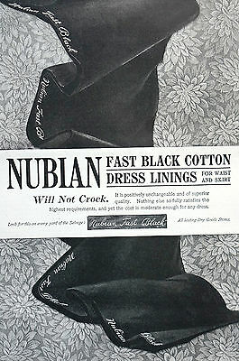 Nubian Fast Black DRESS LINING 1890 Matted Ad- Yard Selvage Sewing Seamstress