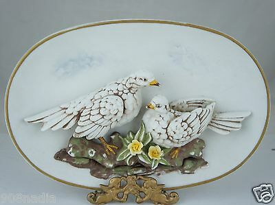 Vintage Wall Plaque/hanging W/ Turtle Doves 3D Figurines & Flowers