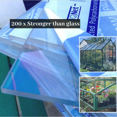 Clear Polycarbonate Plastic Sheet Glazing Panel Solid Greenhouse Frame Shed 4mm