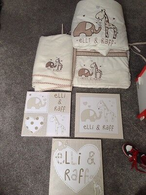 Nursery Bundle Elli And Raff , Bedding , Cot Bumper, Blanket And Pictures