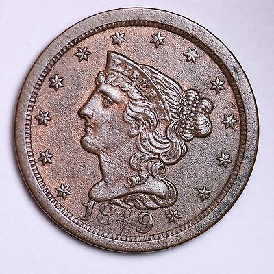 1849 Braided Hair Half Cent Penny  CHOICE UNC FREE SHIPPING E102 CNM