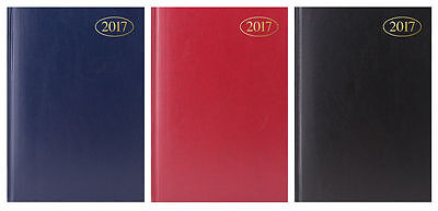 2017 A5 Week to view Diary Hardback cover Black, Blue or Red Diary