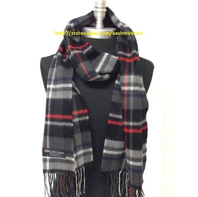 New 100% CASHMERE SCARF Check Plaid Black Gray Red Scotland Soft Warm Wool Wrap