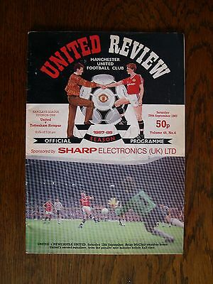 T58 - Manchester United V Tottenham Hotspur - 26th Sept 1987 - match programme