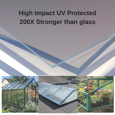 CLEAR POLYCARBONATE PLASTIC SHEET GREENHOUSE PANEL SHED HIGH IMPACT SOLID UV 2mm
