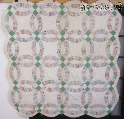 Romantic c 1930s Double Wedding Ring Vintage Quilt FEEDSACK s Novelty