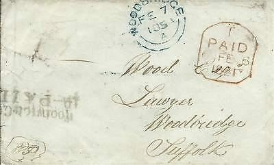 GB 1851 Cover with Woolwich Common 1d Paid Cachet to Woodbridge Suffolk