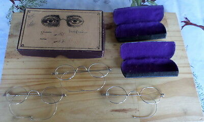 LOT Antique / VINTAGE 1930`s ? FRENCH  3 SPECTACLES GLASSES UNWORN Box & 2 cases