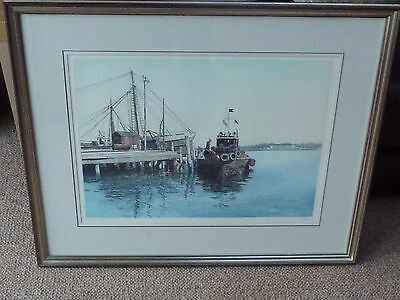 Signed Framed Ltd Edition  Print By Paul Bisson , The Wharf 20 / 35
