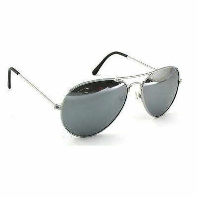 Silver Mirrored Mirror Aviator Style Sunglasses Uv Protection Mens Womans Ladies