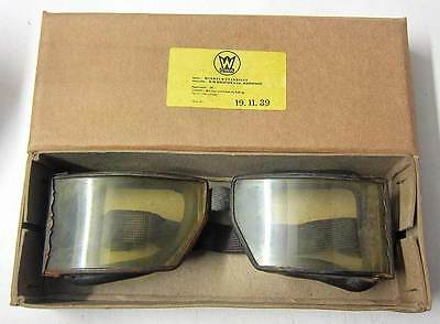WW2 German Panzer Motorcycle Goggles & Vintage aviator driving aged Wehrmacht