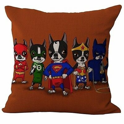 Boston Terrier SUPER HEROES Throw Pillow