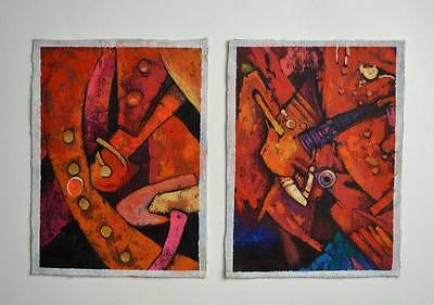 Abstract surreal Peru art original oil paintings set of 2 signed unframed