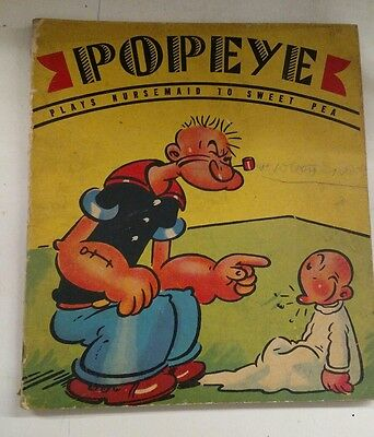 1937 POPEYE PLAYS NURSEMAID TO SWEET PEA Whitman Picture Book SEGAR