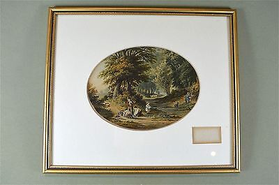 Framed antique coloured print The blackberry gatherers country scene Baxter