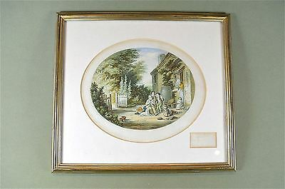 Framed antique coloured print The burning glass country scene Baxter