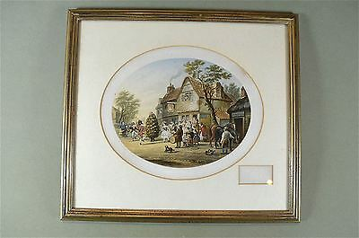 Framed antique coloured print May Day country scene Baxter