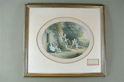 Framed antique coloured print blowing bubbles country scene Baxter