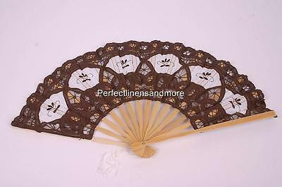 Handmade Brown Battenberg Lace Fan with Embroidery