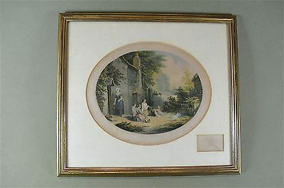 Framed antique coloured print The pet rabbits country scene Baxter