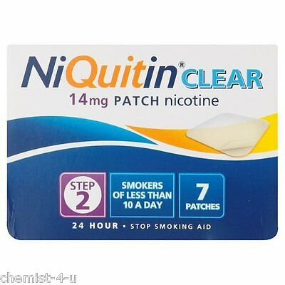 NiQuitin Quit Smoking Clear 24 Hour Patches Step 2 14mg 7 Patches