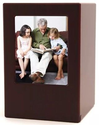 Wood Adult 200 Cubic Inch Funeral Cremation Urn for Ashes with photo