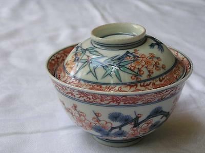 Antique Japanese Kakiemon chawan (bowl with lid) 1920s handpainted #3733
