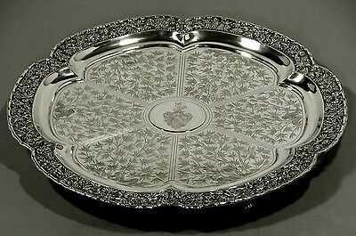 Chinese Export Silver Tray        Luenwo c1875                       COAT ARMS