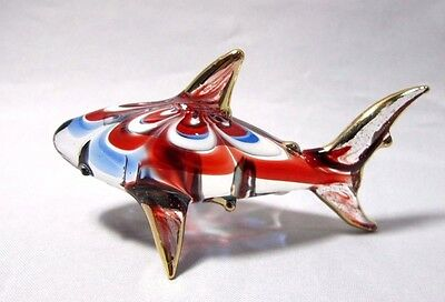 Lampwork ฺshark Hand Blown Glass Art Miniature Figurine Collectible Exquisite#11