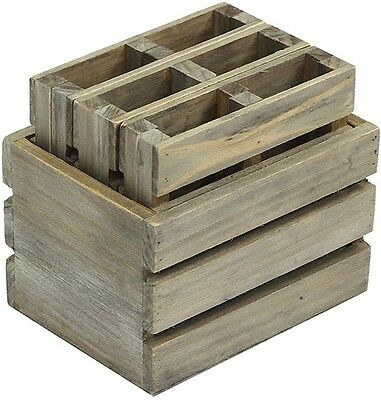 Crates and Pallet 4 in. Miniature Crate with 6-Pallet Coasters in Weathered Gray