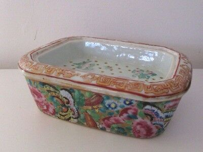 Antique 19th century Hand Painted Chinese Canton Porcelain Soap Dish