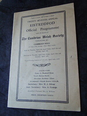 Vancouver, Canada - Eisteddfod Program Cambrian Welsh Society - 1955