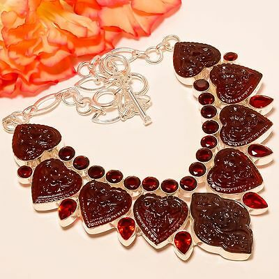 """Carved Garnet, Mozambique Garnet 925 Sterling Silver Jewelry Necklace 18"""""""
