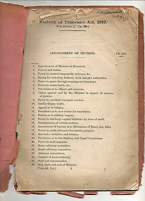 1919. Ministry of Transport Act. Railways, Tramways, Canals, Roads, Docks