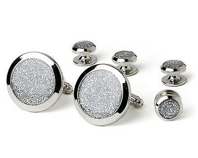 Silver Diamond Dust Tuxedo Cufflinks and Studs Silver