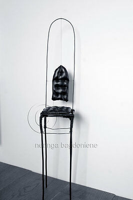Black wire, leather display base chair for dolls. Oversized, tall and elegant.