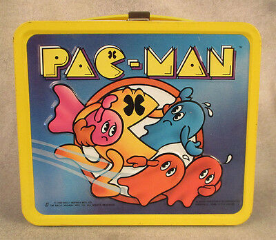 Pac-Man vintage metal lunchbox with thermos complete Aladdin 1980 never used NM