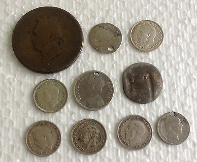 10 x  mixed victoria coins  mixed  lot .925  Silver includes early penny   #94