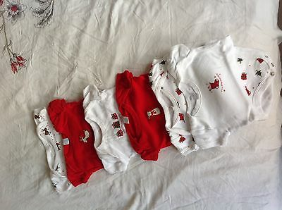 Cute Set Of 6 Baby Bodysuits 0-3 Months 1st Christmas Special Festive Designs