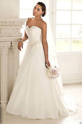 New Stock White Ivory Wedding Dress Bridal Gown Size:6 8 10 12 14 16 18