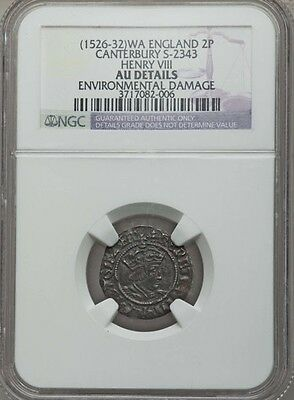 "England Henry Viii 1526-1532  ""half-Groat"" Silver Coin Ngc Certified Au Details"