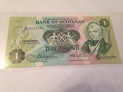 £1 note Bank Of Scotland 1980 Uncirculated