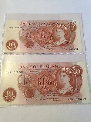 Ten shilling notes Bank of England 1963 JQ Hollom consecutive numbers