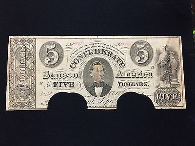 **VERY SCARCE (T-34)** 1861 $5 Confederate States of America Currency