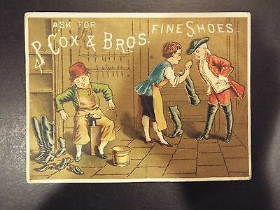 P. Cox & Bros. Fine Shoes Misses, Boys and Children Victorian Trade Card